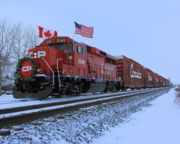 red train in canada