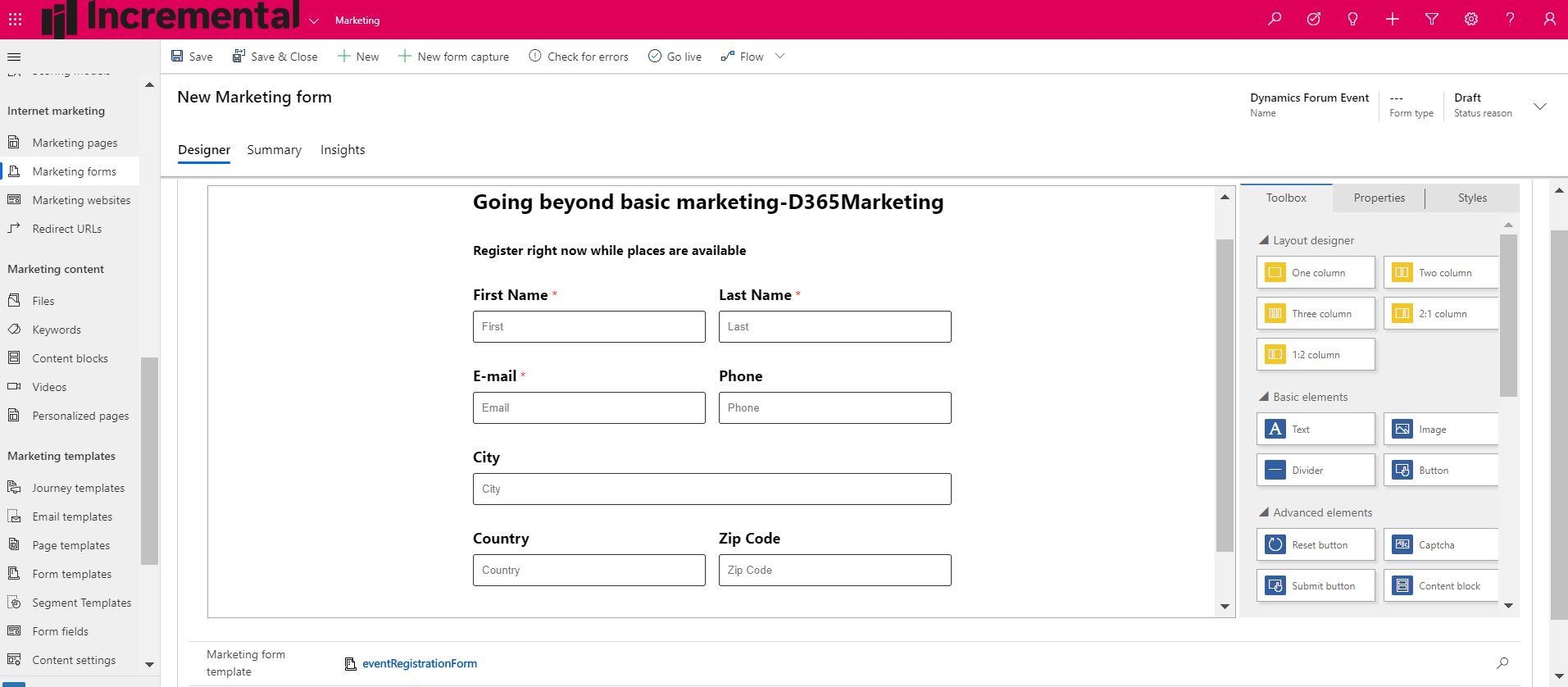 screengrab of Dynamics 365 Marketing