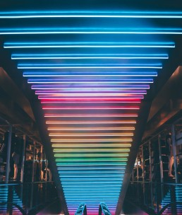stock image of lights over an escalator