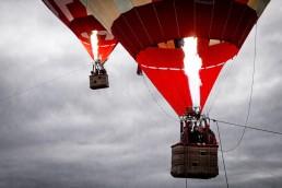 stock image of hot air balloon powering