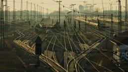 stock image of rail crossing